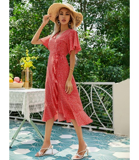 Ditsy Floral Knot Side Wrap Dress