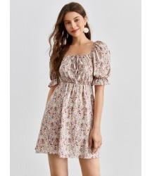 All Over Floral Print Square Neck Puff Sleeve Dress