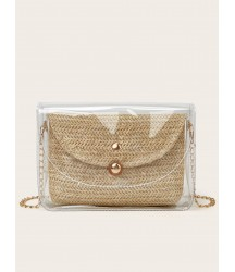 Clear Chain Bag With Straw Inner Pouch