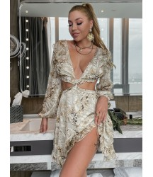 Allover Print Plunging Neck Lace Up Backless Dress