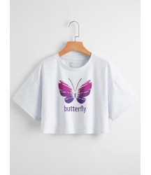 Butterfly And Letter Graphic Drop Shoulder Crop Tee