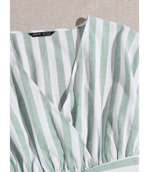 Surplice Neck Two Tone Striped Belted Dress